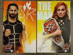 WWE SUMMERSLAM Limited Edition Signed Litho SETH ROLLINS BECKY LYNCH Auto 25