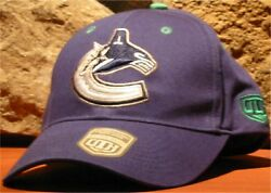 NHL VANCOUVER CANUCKS Old Time Hockey Adjustable Ball Cap Hat Blue Orca Logo