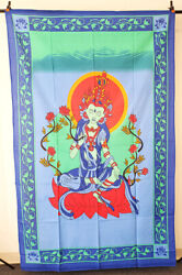 Goddess TARA Colorful Tapestry Indian Wall Hanging Decor 54quot; x 86quot; NEW