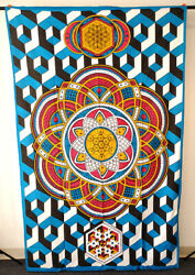 Geometric Design Colorful Tapestry Indian Wall Hanging Decor 54quot; x 86quot; NEW