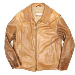 Gimos Mens Leather Bomber Jacket 42 Cognac Brown Distressed Leather Zip Italy 52