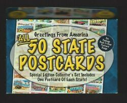 50 State Postcards Special Edition Complete Collectors Set Mint Features Data---