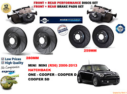 For Mini One D R56 Hb 10-13 Front And Rear Performance Brake Discs Set + Pads Kit