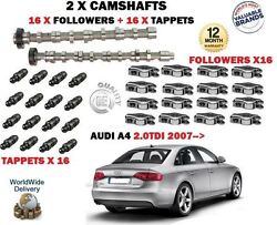 For Audi A4 2.0 Tdi 2007-new 2x Camshaft Cam Set And 16x Tappets + 16x Followers