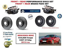 For Mercedes E Class Coupe E250 2013- Front Rear Performance Brake Discs + Pads