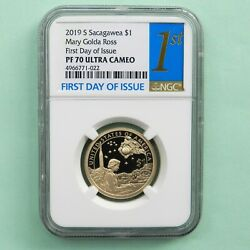 2019-s Sacagawea 1 Mary Golda Ross First Day Of Issue Ngc Pf 70 Ultra Cameo