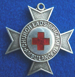 Early Church Lads Brigade Sterling Silver And Enamel Badge - Ambulance 1918