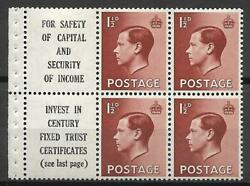 Pb5a 9 'safety Of Capital' Advert Pane Superb Perfs Unmounted Mint