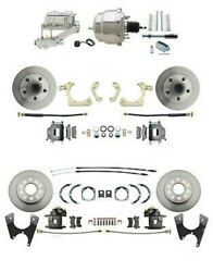 Chevy Car Front/rear Disc Brake Conversion Kit W/ Chrome Booster Master Cylinder