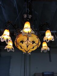 Wrought iron chandelier With Glass Shades incorporated Hand Made Art Deco Style