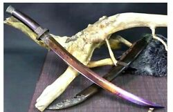 Mongol Chinese Curved Saber Sabre Sword Short Cavalry Dao Folded Damascus Steel