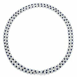 7-7.5mm White Freshwater Potato Pearls With 4-5mm Blue Sapphire Gemstone 50 ...