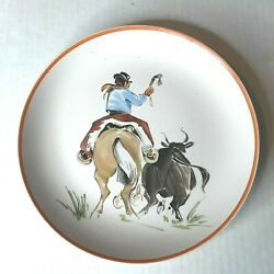 Argentina Hand Painted Decorative Plate Cowboy Bull Artist Signed