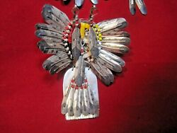 2 Native Pins.sterling Broken Arrow And M. Headdress And Eagle Claw Medicine Stick
