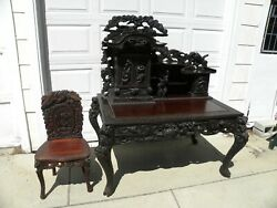 Antique Victorian Elaborately Carved Desk With Matching Chair Late 1800s