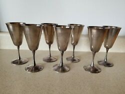 Fb Rogers Stemmed Silverplate Wine Goblet Chalice Made In Yugoslavia Lot Of 7