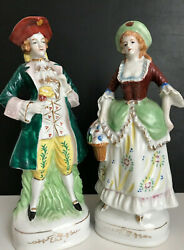 """Victorian Man And Woman Porcelain Figurines Made In Occupied Japan/mint/10"""" Ht"""