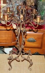 Antique Wrought Iron Candelabra Candle Holder Leave Designs Holds 4 Candles