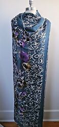 New Loro Piana 1625 Rose Sauvage Painterly Floral Cashmere Large Scarf Shawl