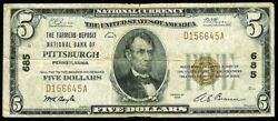 1929 Type 1 Pittsburgh Pa 5 Farmers Deposit National Bank Note - Charter 685
