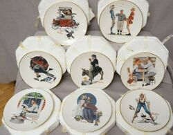 Norman Rockwell Plates From The Saturday Evening Post Gorham Lot Of 8 W/boxes