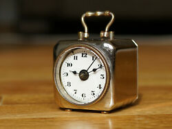 Alarm Clock Brevete Antique French Miniature Military Officer Serviced 1860s