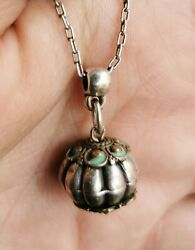 Antique Vintage Silver Pendant Charm Bead Tribal With Enamel And Brass