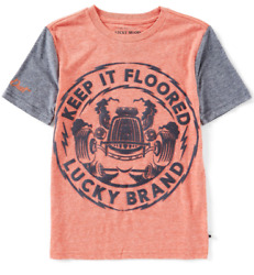 Lucky Brand Little Boys Short Sleeve Graphic T Shirt Keep It Floored Paprika NWT $5.09