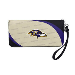 Nwt Nfl Baltimore Ravens Women Synthetic Leather Curve Zip Organizer Wallet