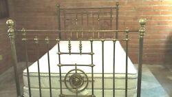 Antique Brass Bed Cast Iron Tall Ornate Vintage Victorian Amazing Patina Read
