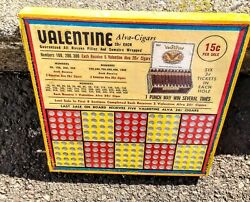 Collectible...valentine Alva 20¢ Cigars..vintage Punch Board Unused..prizes..wow