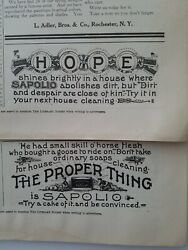Lot Of 2 Sapolio Soap Hope The Proper Thing Vintage Original Ads