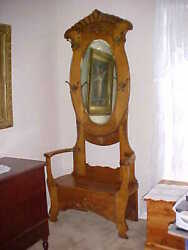 ~ANTIQUE GORGEOUS OAK HALL STAND WITH RARE OVAL BEVELED MIRROR~HOOKS AND BENCH~