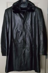 Asl Mens Real Leather Shearling Lambskin Black Trench Warm Coat Size Xl New