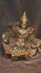 Antique 19c Thai Wood Gilt Painted Goodies Puppet Dressed In Rich Ornament Robe