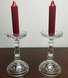 Large Tulip Crystal 8 1/2 Candlesticks Candle Holders Flower Scalloped Edge