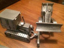 2 John Deere 450g Tractor Dozer Spec Cast Pewter Toy Jd 1/50th Close To O Scale