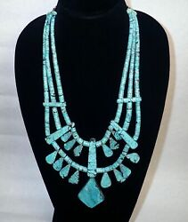 Thomas Reano Kewa Sterling Silver And Turquoise Southwest Bib Necklace 21