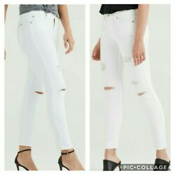 7 For All Mankind Ankle Skinny Jeans With Destroy In Clean White 25