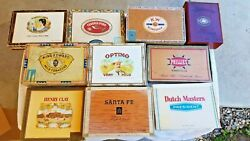 Lot Of 10 - Cigar Boxes-empty Assorted Shapes And Sizes