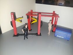 124 125 Scale 4 Post And 2 Post Model Car Lift With Tool Box Garage Diorama