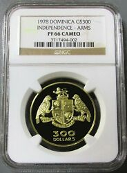 1978 Gold Dominica Rare 500 Minted 300 Ngc Proof 66 Cameo Independence