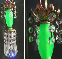 Vintage Lucite Emerald Green Swag Lamp Chandelier Crystal Beaded Prisms Glowing