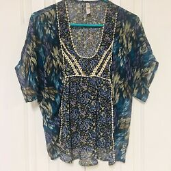 Xhilaration Peasant Top Chiffon Crochet Navy Blue Feather Floral Bohemian Small