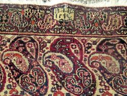 Antique Khorassan Oriental Rug Paisley Design Signed And Dated 1880 Rare