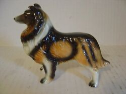 VINTAGE BROWN AND BLACK COLLIE DOG FIGURINE