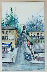 HALL GOUACHE-PASTEL FAUVIST PAINTING TOWN STREET CARS RED LIGHT STOP SIGN SHOPS