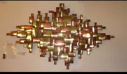 Brutalist Large Vintage Brass Copper Abstract Wall Art Mid Century Eames Jere