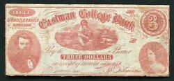1880's 3 Eastman College Bank Poughkeepsie, Ny Obsolete Currency Note Scarce