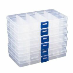 Clear Jewelry Box 6 Pack Plastic Bead Storage Container Earrings Organizer